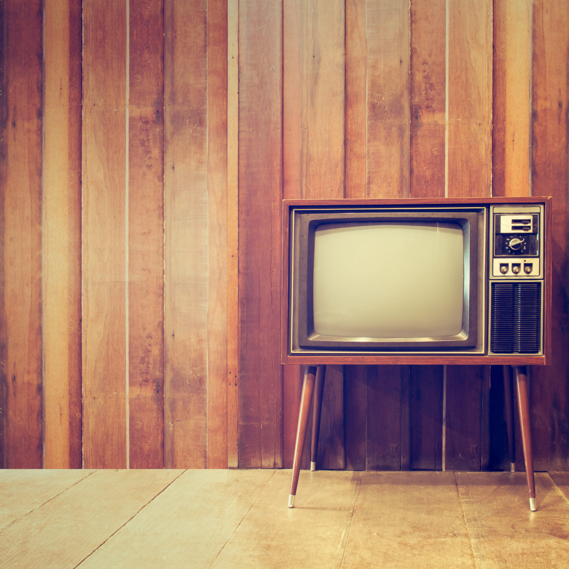 Old vintage television or tv,in vintage style
